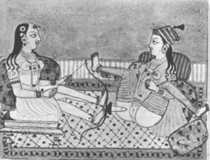 India , 17th C, two women, one shooting a dildo, manuscript illustration