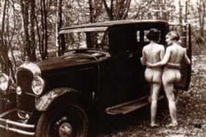 France, nude women with car, c. 1920, photographer unidentified.