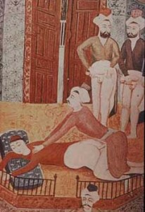 Turkey, Male Group Scene, 19th century, (miniature painting from the Khamsa of Nevi Zade Atai, Khamsa (Book of Mesnivis).