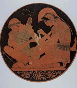 Ancient Greece , 500 BC, Achilles tending the wounded Patrochlus, painted pottery