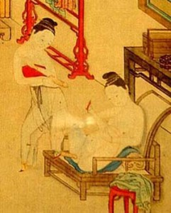 Chinese women with dildos, album paining on silk, 19th C