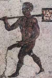 Ancient Rome , Black Bath Attendant, mosaic from men's bathhouse