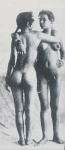 "19th C ""anthropological"" photo of two Taureq women. (This photo inspired Henri Matisse's sculpture, Two Negresses, 1908. Matisse created this sculpture and many other lesbian images during a period in which Gertrude Stein became his friend and patron.)"