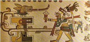 15th C, Aztec Goddess Tlazolteotl dressed as a man, emanating power from her vulva, Codex Laud, Oxford