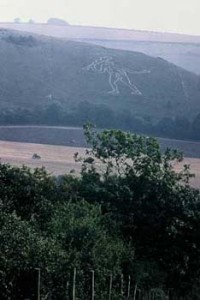 England , Cerne Abbas Giant carved in the chalk hills in prehistoric times, maintained by local people scrubbing the earth into the early 20th C