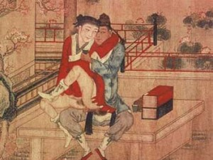 China , 18th C, Two men making love on a terrace, painting on silk