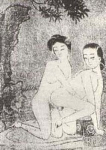 China , Two women with bound feet having sex outdoors, silk painting, 1640