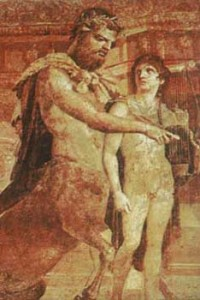 C Greece , Herculaneum , Chiron with Achilles, wall painting.