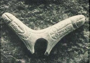 Double phallus made from deer antler, engraved with vulvaforms, ancient France