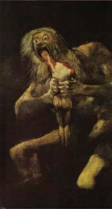 "Goya, Saturn Devouring One of His Sons. 1820-23. Oil on plaster transferred to canvas. 57-1/2"" x 32-3/4"". (146 x 83 cm.). Museo Nacional del Prado , Madrid ."