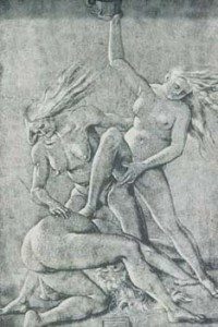Hans Baldung Grien, Witches' Orgy, 1514, drawing.
