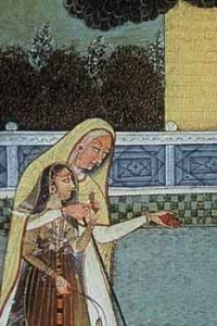 India , 18th C, affectionate women, detail of miniature painting