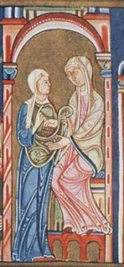 Lambeth Bible, Ruth and Naomi, mid 12 century, MS3 Folio 130, Lambeth Place Library, London .