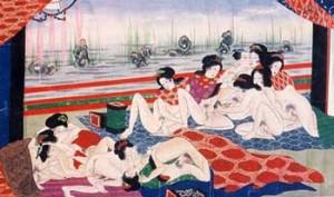 Lesbian orgy, Shunga scroll, Japan c. 1870