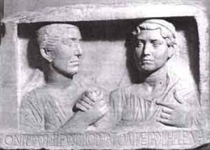 Augustan funerary relief of two women, hands clasped in the gesture typical of Roman married couples, 27 BCE – 14 CE