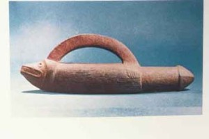 "Pacific Northwest Coast double phallus, 13"", believed to be used in initiation ceremonies"