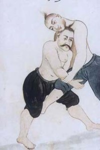 Persia , watercolour, Wrestlers, 1685