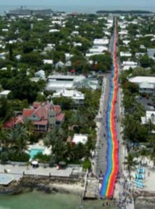 Celebrating the 25th Anniversary of the Rainbow Flag by stretching a gigantic flag from sea to sea, Key West , Florida , 2003