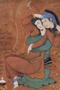 Persia , Riza-i-Abbasi, Two Lovers, miniature painting, 1630