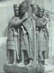 Roman tetrarchs embracing, statue in Piazza di San Marco, Venice