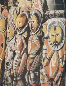 Ancestor figures from the sacred men's house, Sepik region, New Guinea