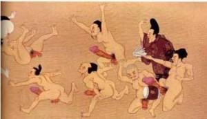 Japan , Phallic Contest, Shunga scroll