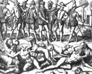 Theodore-de-Bry, 1590 Spanish Conquistadors Feeding the Sodomites to the Dogs