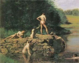 Thomas Eakins, The Swimming Hole, 1885, oil painting