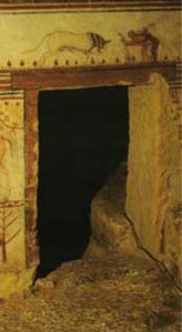 Tomb of the Bulls, fresco – Etruscan, Tarquina, c. 530 BC, showing location of the image over a doorway